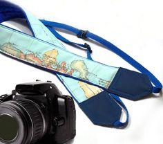 Blue Camera Strap. World Map Camera Strap. Vintage Camera Strap DSLR / SLR Camera Strap. For Sony, canon, nikon, panasonic, fuji and other cameras.