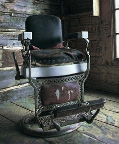 A Victorian Barber Chair left behind in an abandoned ghost town in Montana.