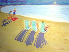 Painting sunbather | ... Sunbathers Women Seashore Pastels Vacation from original painting