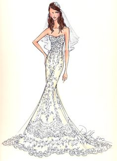 Custom sketch of you in your bridal gown. Neat. By Illustrative Moments.