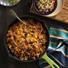 Spicy Taco Rice Skillet: Ground beef, bell peppers, black beans and rice simmered with Ro*Tel®, Hunt's® Tomato Paste and spicy taco seasonings