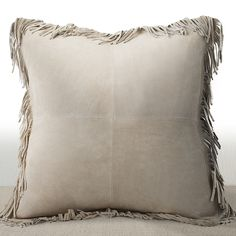 Coronado Sand Suede Feather and Down-filled 20-inch Luxury Pillow with Fringe Border