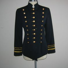 navy military jackets for women   Vintage Military Inspired Women's Jacket Navy with Gold Size 6