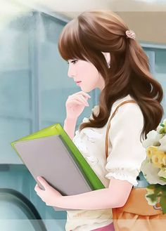 ♥️♥️ Girl Drawing Images, Anime Drawing Styles, Cute Girl Drawing, Beautiful Fantasy Art, Beautiful Anime Girl, Beautiful Roses, Korean Art, Asian Art, Canvas Art Projects