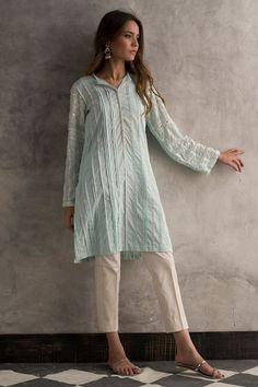 Shop the Nida Azwer Official Website. Pakistani Fashion Casual, Pakistani Dresses Casual, Pakistani Dress Design, Casual Dresses, Indian Fashion, Tunic Dresses, Pakistani Couture, Indian Couture, Muslim Fashion