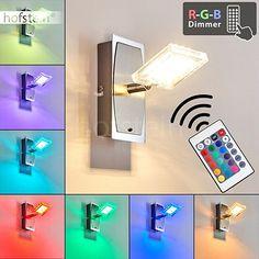LED Wandleuchte mit Schalter aus Metall Chrom, Nickel matt - Wandlampe mit Fernbedienung und Farbwechsler für Wohnzimmer - Schlafzimmer - Flur - Spot beliebig dreh- und schwenkbar