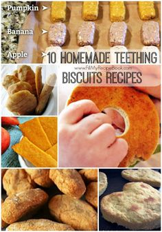 10 homemade teething biscuits recipes that are healthy and grain and gluten free, made with sweet potato and banana and oats. As well as pumpkin. Let them chew and be healthy at the same time. Baby Rusk Recipe, Baby Biscuit Recipe, Baby Cracker Recipe, Baby Teething Biscuits, Teething Cookies, Homemade Baby Snacks, Chicken Baby Food, Baby Cookies, Summer Cookies