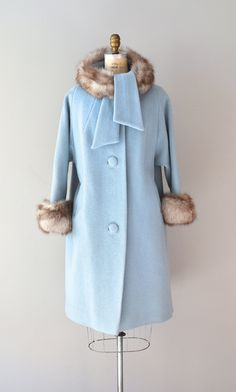 1960s vintage Lilli Ann ribbed wool coat with fox fur collar and cuffs
