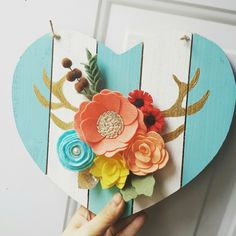 Felt Flower Sign Wood Sign Heart Sign Striped Heart by CraftsByID