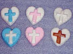 Gumpaste Heart with Cross Cupcake Toppers by GumpasteGarden, $10.00