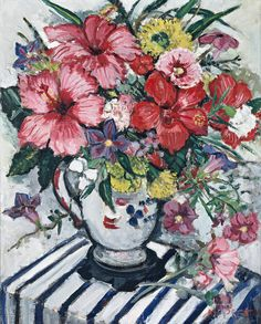 Deutscher and Hackett Sidney - Mixed Flowers-Margaret Preston Margaret Preston, Margaret Rose, Australian Painting, Australian Artists, Art Floral, Flower Painting Canvas, Flower Paintings, Flower Artwork, Garden Painting