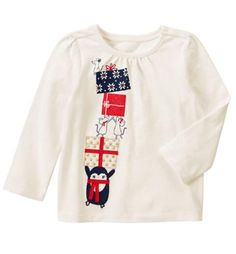 c003a558e Gymboree Girls Christmas Top 2t Penguin Mice Presents Holiday Shop New kg1
