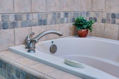 corner mount faucet and controls. Add spray feature to clean tub?  Tub Spout Design Ideas, Pictures, Remodel and Decor