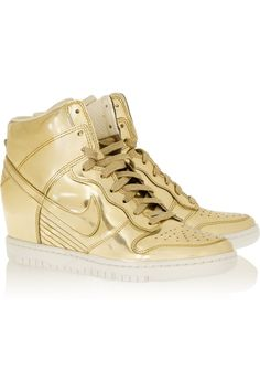 Nike | Dunk Sky Hi metallic leather wedge sneakers