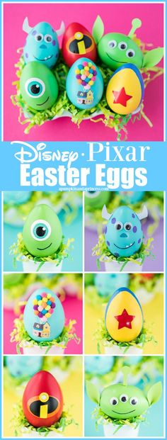 DIY Disney Pixar Easter Eggs – how to make character Easter eggs inspired by Disney Pixar movies. DIY Disney Pixar Easter Eggs – how to make character Easter eggs inspired by Disney Pixar movies. Creative Easter egg decorating ideas for kids. Disney Diy Crafts, Kids Crafts, Diy And Crafts, Diy Disney Decorations, Disney Crafts For Adults, Disney Pixar, Disney Easter Eggs, Stitch Disney, Disney Cute