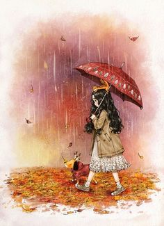 Autumn rain 가을비 Mister Rain is here in quite chilly weather. Leaves are turning redder and ginkgo leaves are turning yellower with the fall of autumn rain. Art And Illustration, Illustrations, Cartoon Kunst, Cartoon Art, Autumn Rain, Forest Girl, Wow Art, Korean Artist, Anime Art Girl