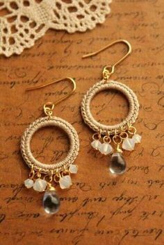 White opal earrings with tiny Australian fire opals. Simple and understated minimalist jewelry. Ideas for gift giving if n Crochet Earrings Pattern, Crochet Jewelry Patterns, Crochet Bracelet, Bead Crochet, Crochet Accessories, Crochet Flower, Gold Bar Earrings, Tiny Stud Earrings, Beaded Earrings