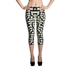 Printful Domino Tiles Capri Leggings Black