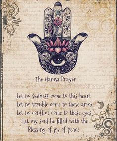 """Mantras can quiet the mind, promote empathy, and experience inners illness and """"God"""". 8 Mystical Meditation Mantras That Will Raise Your Consciousness. Hamsa Prayer, Prayer Tattoo, Les Chakras, Law Of Attraction, Decir No, Prayers, Inspirational Quotes, Motivational, Life Changing"""