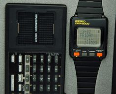1980s SEIKO DATA 2000 LCD DIGITAL WATCH Keyboard Calculator Cal.UW01 New NOS Box