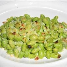Crispy Edamame -- frozen edamame, olive oil, parmesan cheese, salt and pepper...baked at 400 for 15 mins.