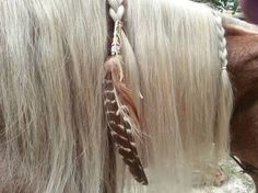 Beaded Turkey Equine Mane, Tail or Hair Ornament - Bead wrapped feathers horse jewelry - American Indian Style Horse Costume Horse Mane Braids, Horse Hair Braiding, Horse Fancy Dress, Feather Extensions, Indian Horses, Horse Tail, Horse Riding Clothes, Horse Jewelry, Diy Jewelry