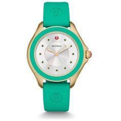 Michele Cape Topaz Gold Tone Green Watch Mww27a000009 Silver