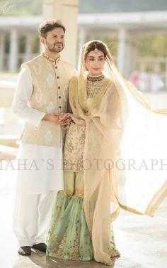 Dupatta style Pakistani Bridal Makeup, Bridal Mehndi Dresses, Nikkah Dress, Pakistani Formal Dresses, Shadi Dresses, Indian Dresses, Wedding Outfits For Groom, Pakistani Wedding Outfits, Bridal Outfits