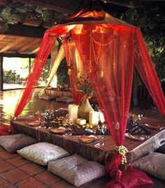60 Comfy Moroccan Dining Room Design You Should Try. Tired of looking at the same bedroom, same dining room and same living room again and again? Moroccan Party, Moroccan Theme, Moroccan Design, Moroccan Style, Morrocan Table, Moroccan Bedroom, Moroccan Lanterns, Moroccan Interiors, Arabian Party