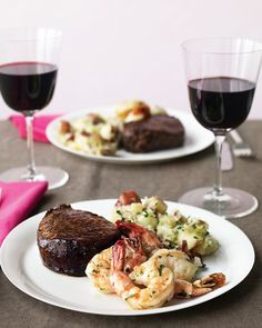 Steak and Shrimp with Parsley Potatoes. For dinner tonight yummy