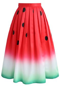 Can't water down your chic, girl! Step out in something sweet and refreshing with this watermelon print skirt boasting the seeds as perfectly placed polka-dots.   - Watermelon pattern - Box pleats from waist - Inserted side pockets - Concealed side zip closure with hook - Lined - 100% Polyester - Machine washable  Size(cm)Length  Waist XS         73     64 S          73     68      M          73     72 L          73     76 XL   …