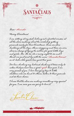 Letter From Santa  LettersSanta Claus    Products