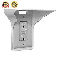 Power Perch Socket Shelf - Outlet Cover Charging Holder, Shelf Organizer Over Outlet- Easy Installation (White)