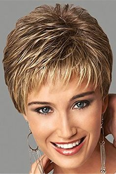 , Short Pixie Cut Brown Blonde Straight Women Human Hair Capless Wigs – dressiu Pensez à are generally fameuse « small robe noire Short Hair Older Women, Haircut For Older Women, Haircuts For Fine Hair, Short Pixie Haircuts, Cute Hairstyles For Short Hair, Curly Hair Styles, Older Women Hairstyles, Pixie Hairstyles, Short Choppy Hair
