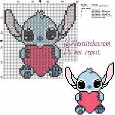 Little Stitch with heart - Free Disney pattern (50x51)