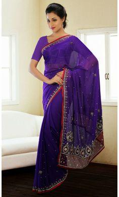 Charming Deep Purple Embroidered Saree #Indian-DesignerSarees #Cotton-Sarees