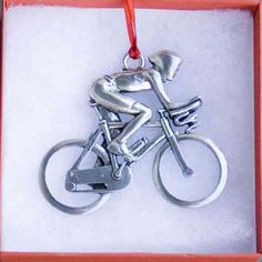 Cyclist with Aero Bars Ornament - Male