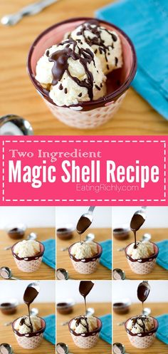 Homemade magic shell takes just two ingredients and can be vegan and dairy free! Perfect on coconut milk ice cream. Such an easy Valentine's dessert option! From EatingRichly.com