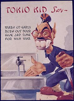 Racist Anti-Japanese propaganda, scary looking too!  The Japanese were told that Marines had to kill their Father or Mother to join.