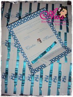 Convite de casamento -Azul Tinfany  Bordas: azul  Fita de cetim: azul  Pedido mínimo: 50 unidades  Menos de 50 unidades o valor será acrescentado  Acompanha: tag com o nome de cada convidado ou em branco  embalagem plastica  adesivo bolinha R$ 1,50
