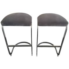 Pair of Polished Steel Cantilevered Barstools | From a unique collection of antique and modern stools at https://www.1stdibs.com/furniture/seating/stools/