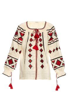Vita Kin Croatia embroidered linen blouse