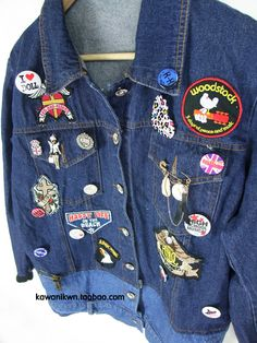 original single shade metal brooch badge patch collision jeans loose wash water of the gradient vest jacket