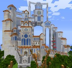 "Minecraft, A whimsical take on a ""castle"" type building. Château Minecraft, Images Minecraft, Minecraft Villa, Construction Minecraft, Modern Minecraft Houses, Minecraft Welten, Minecraft Mansion, Minecraft Structures, Amazing Minecraft"