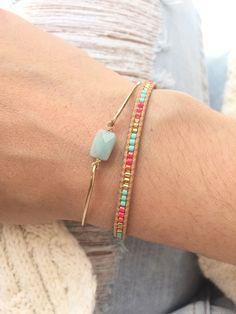 Tiny Amazonite Bangle / Semi Precious Stone Bracelet / Gold Filled Boho jewelry / Stackable bracelets de la boutique lesbrindilles sur Etsy