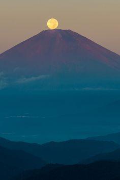 Harvest Moon on Mount Fuji from Kanagawa, Japan