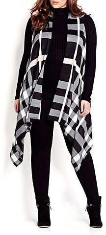 Take a look at Lord & Taylor - Addition Elle Michel Studio Plus Plaid Asymmetrical Vest Fashion Moda, Curvy Fashion, Look Fashion, Fashion Outfits, Plus Fashion, Womens Fashion, Fashion Boots, Plus Size Fashion For Women, Plus Size Womens Clothing