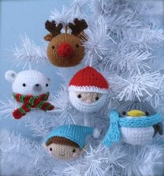 Merry Christmas!!! This PDF pattern will instruct you on how to knit my original 2014 Christmas Ornaments. Pattern includes instructions for the following knit ornaments: Santa, Penguin, Elf, Polar Bear, and Reindeer Measurements:(not counting hanging loops) Elf-5 inches wide (hat), 3 inches tall Reindeer-4 inches tall, 3 inches wide Polar Bear-3 inches tall 3 inches wide (minus the scarf) Penguin- 4 inches wide (wing to wing), 3 inches tall Santa- 3 1/4 inches tall, 3 inches wide Mat...