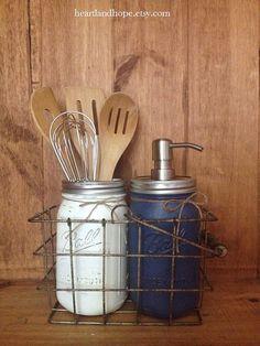 THREE 3 Piece Mason Jar Set with Kitchen Caddy by HeartlandHope