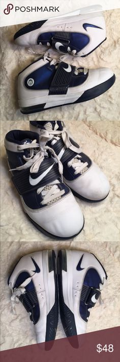 Nike Lebron James basketball shoe Sz 10.5 Nike Lebron James basketball shoe Sz 10.5.  Navy and white in color. Pretty great condition for the age. 407638–104. Size 10.5. Witness Airmax Nike basketball shoes. Nike Shoes Athletic Shoes